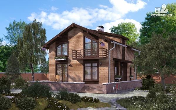 Фото: проект дом в полтора этажа с длинной террасой и балконом