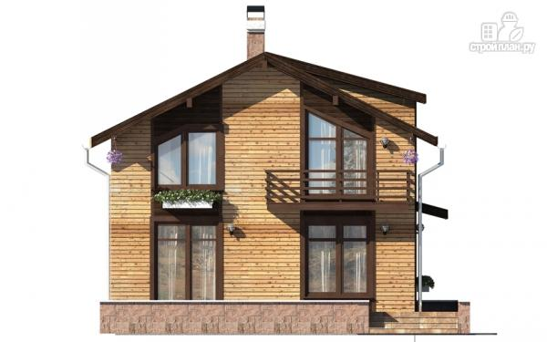 Фото 7: проект дом в полтора этажа с длинной террасой и балконом