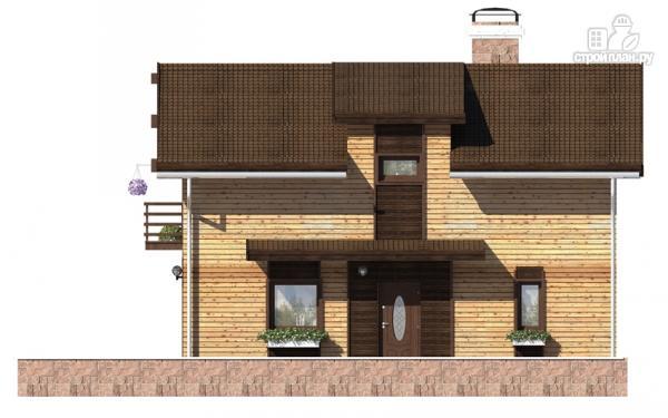 Фото 6: проект дом в полтора этажа с длинной террасой и балконом