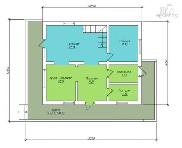 Фото 2: проект дом в полтора этажа с длинной террасой и балконом