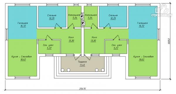 Фото 2: проект одноэтажный спаренный дом с парадным крыльцом