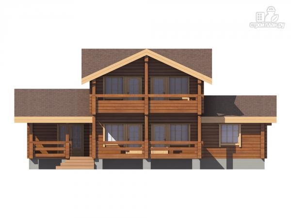 Дом из клееного бруса с балконом и террасой, проект 142/198.