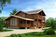 Фото: дом из клееного бруса  с балконом и террасой