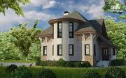 Проект дом с верандой в эркере