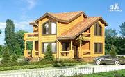 Проект деревянный дом с балконами и террасами