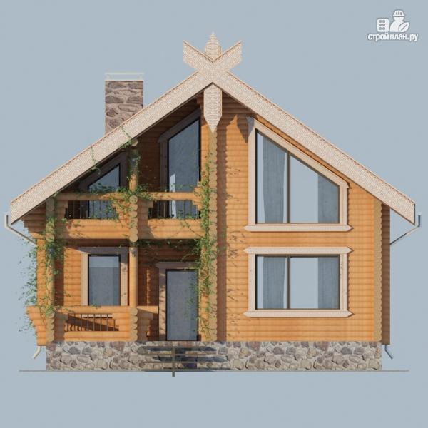 Фото 7: проект деревянный дом 10х10 с балконом и террасой