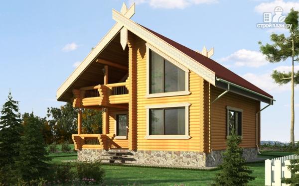 Фото: проект деревянный дом 10х10 с балконом и террасой