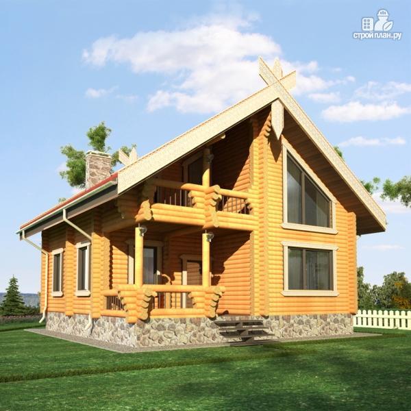 Фото 8: проект деревянный дом 10х10 с балконом и террасой