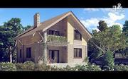 Проект дом с мансардным этажом и террасой