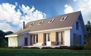 Проект дом из поризованного камня с сауной и мансардным этажом