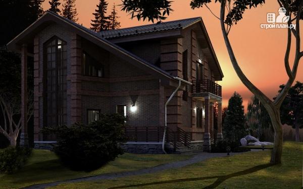 Фото 10: проект дом с террасой, маленьким балконом и вторым светом в эркере гостиной
