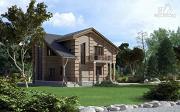 Проект дом с террасой, маленьким балконом и вторым светом в эркере гостиной