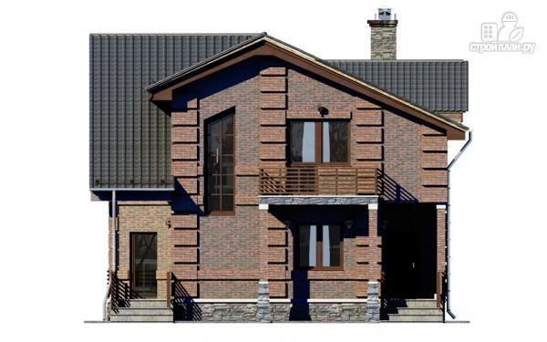 Фото 4: проект дом с террасой, маленьким балконом и вторым светом в эркере гостиной