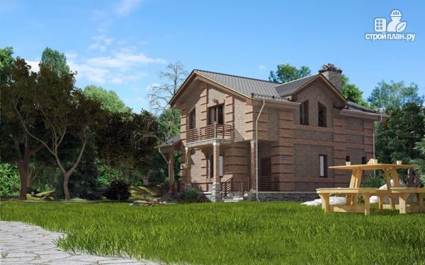 Фото 5: проект дом с террасой, маленьким балконом и вторым светом в эркере гостиной