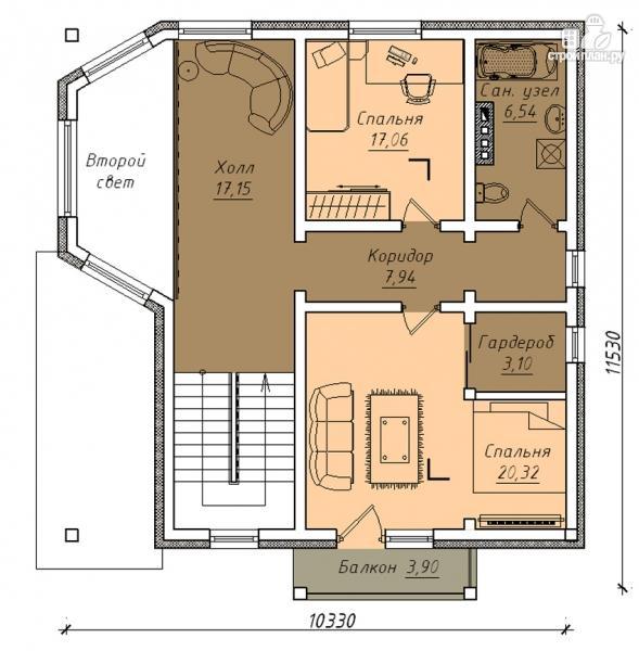 Фото 3: проект дом с террасой, маленьким балконом и вторым светом в эркере гостиной