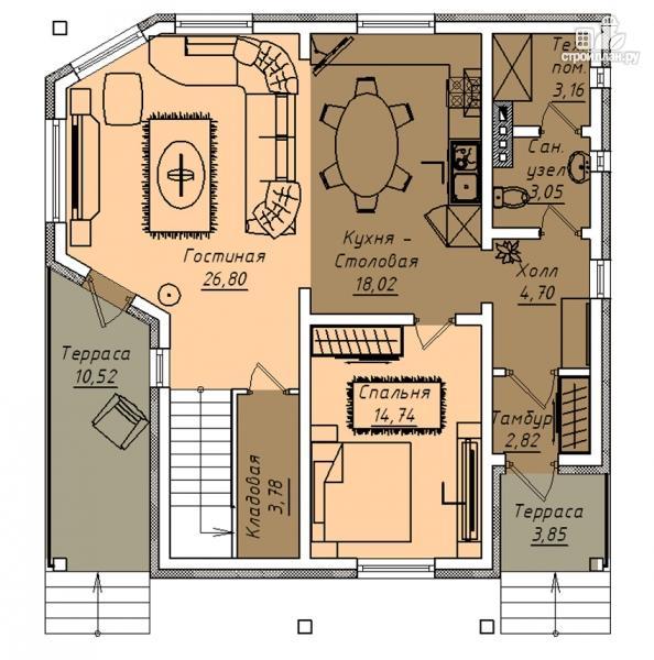 Фото 2: проект дом с террасой, маленьким балконом и вторым светом в эркере гостиной