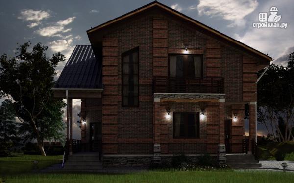 Фото 8: проект дом с террасой, маленьким балконом и вторым светом в эркере гостиной