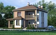 Проект двухэтажный дом с балконом и террасой