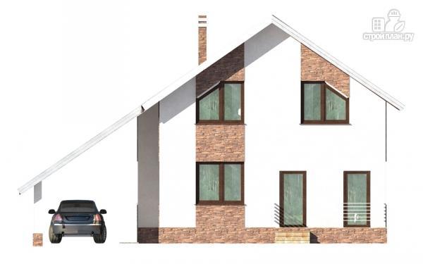 Фото 5: проект дом с балконом, террасой и навесом для машины