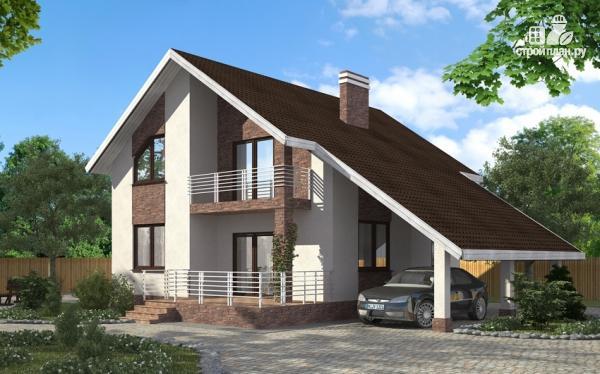 Фото: проект дом с балконом, террасой и навесом для машины