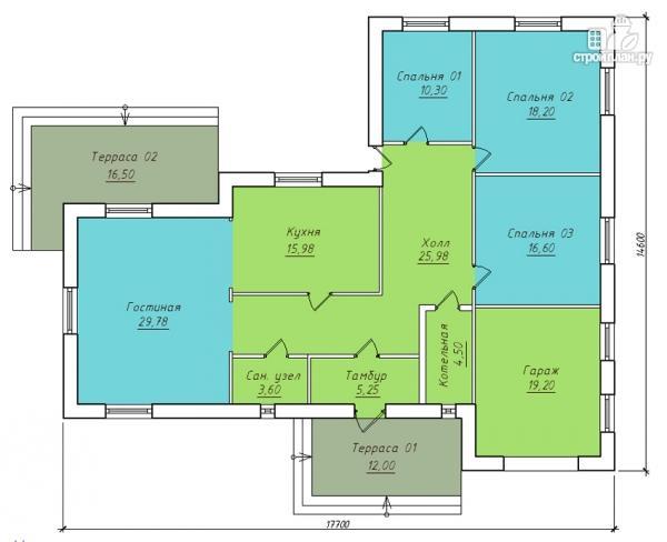 проекты одноэтажных домов 10х10 с 3 спальнями