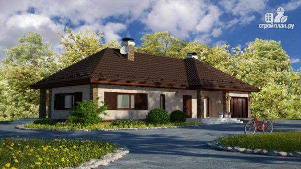 Фото: проект одноэтажный дом с террасой и гаражом
