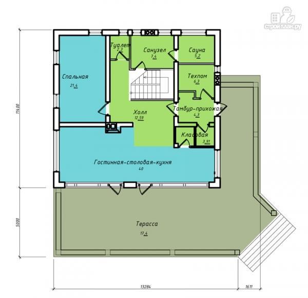 Фото 2: проект дом из клееного бруса с сауной и светлой гостиной