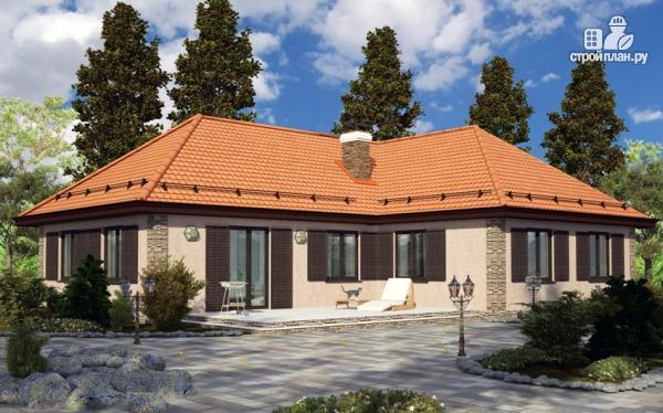 Фото: проект одноэтажный дом с камином и террасой