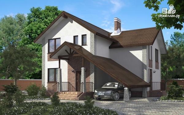 Фото: проект дом с террасой, сауной и навесом для машины