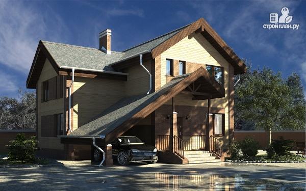 Фото: проект дом с террасой, сауной и оригинальным навесом для машины