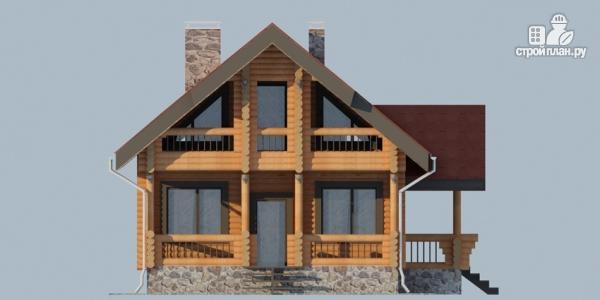 Фото 7: проект деревянный дом с террасой, балконом и мансардным этажом