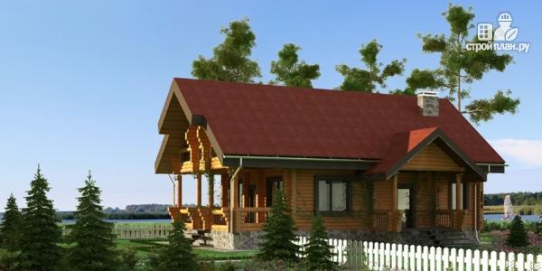 Фото: проект деревянный дом с террасой, балконом и мансардным этажом