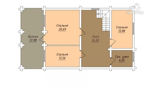 Фото 3: проект деревянный дом с террасой, балконом и мансардным этажом