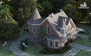 Фото: дом из газобетона с террасой, двухсветной гостиной и сауной