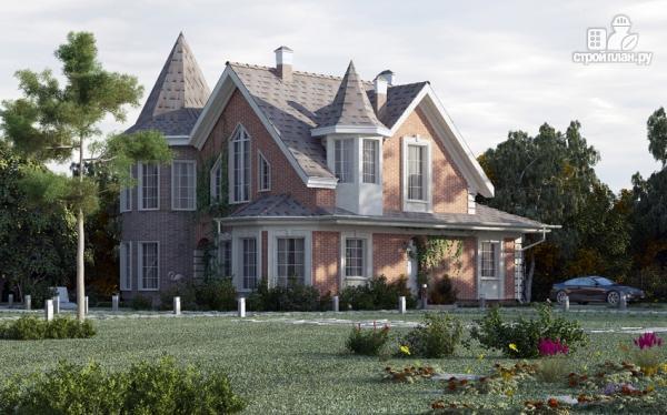 Фото 6: проект дом из газобетона с террасой, двухсветной гостиной и сауной