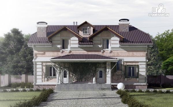 Фото: проект дом из газобетона, для двух поколений, с общей террасой