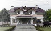 Проект дом из газобетона, для двух поколений, с общей террасой