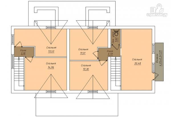 Фото 3: проект дом из газобетона, для двух поколений, с общей террасой