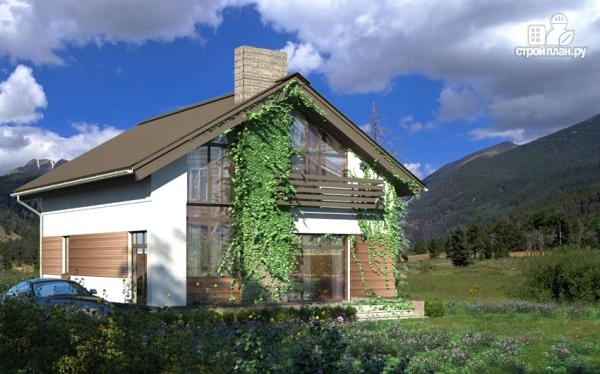 Фото 4: проект дом из газобетона с балконом и вторым светом в гостиной