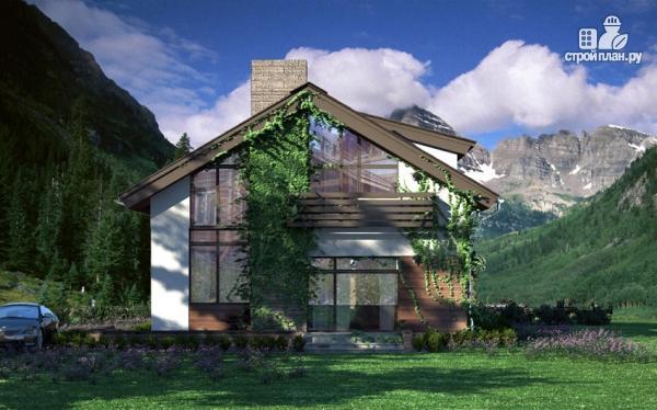 Фото 8: проект дом из газобетона с балконом и вторым светом в гостиной