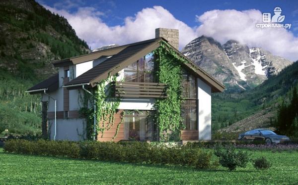 Фото: проект дом из газобетона с балконом и вторым светом в гостиной