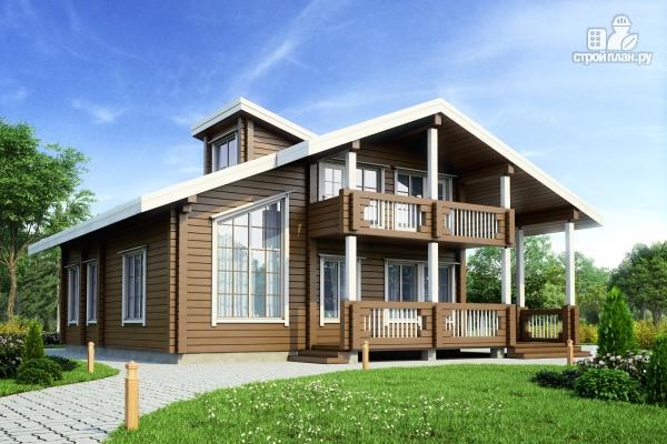 Фото: проект дом из клеенного бруса с балконом и террасой