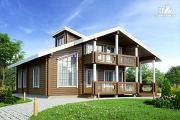Фото: дом из клеенного бруса с балконом и террасой