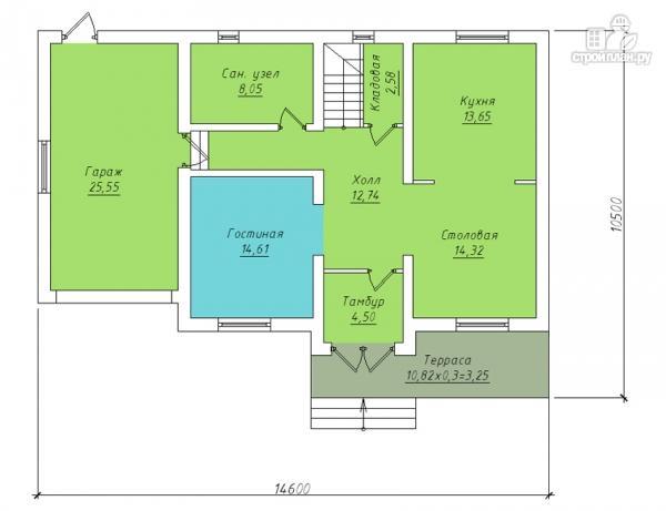 Фото 2: проект двухэтажный дом с гаражом и террасой на втором этаже