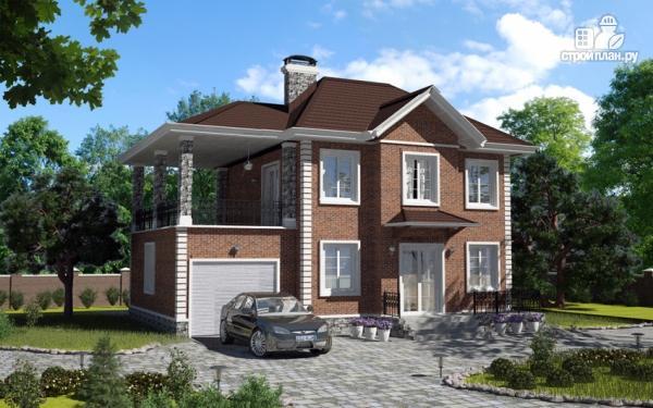 Фото: проект двухэтажный дом с гаражом и террасой на втором этаже