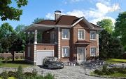 Проект двухэтажный дом с гаражом и террасой на втором этаже