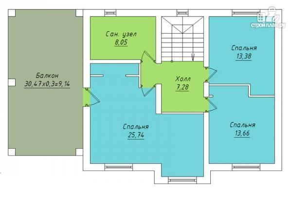 Фото 3: проект двухэтажный дом с гаражом и террасой на втором этаже