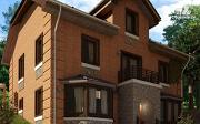 Фото: двухэтажный дом с балконом и эркерами