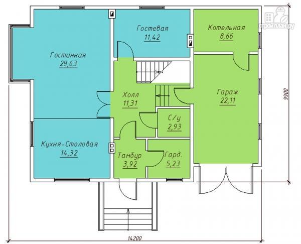 Фото 2: проект дом с эркером в гостиной