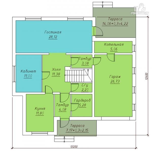 Фото 2: проект двухэтажный дом с террасой и гаражом